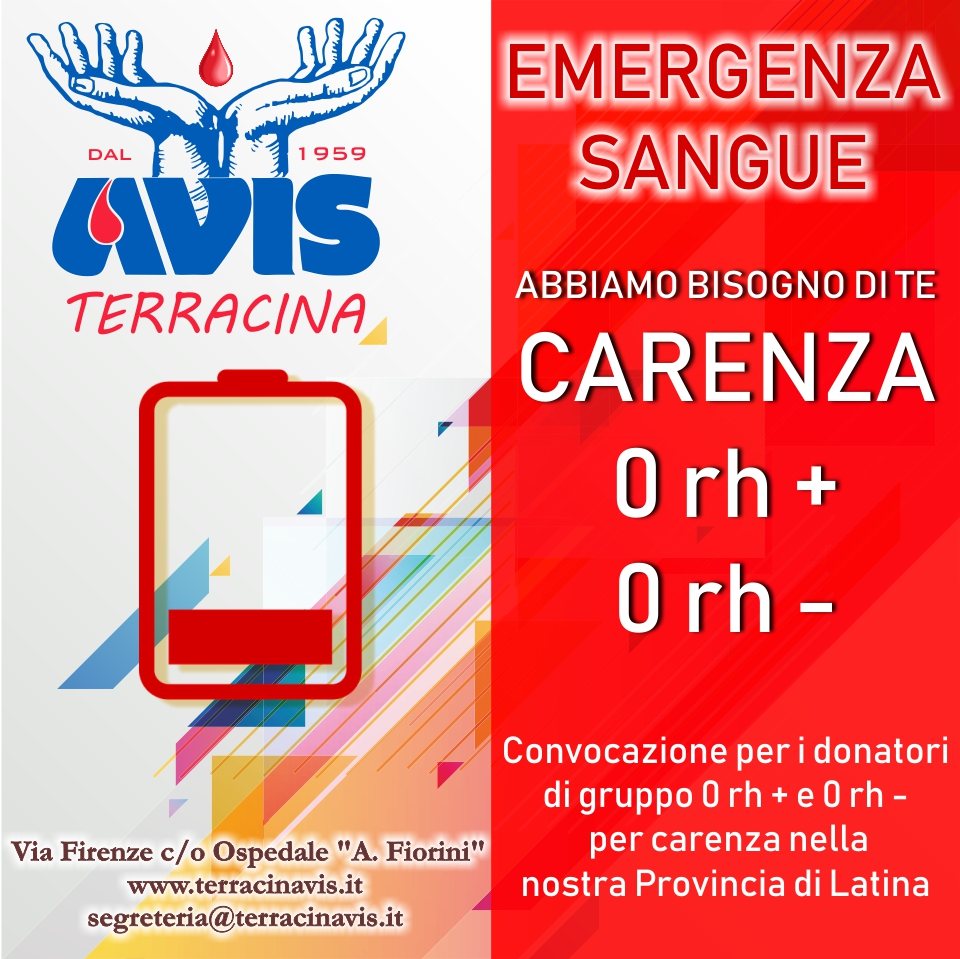 carenza sangue provincia latina