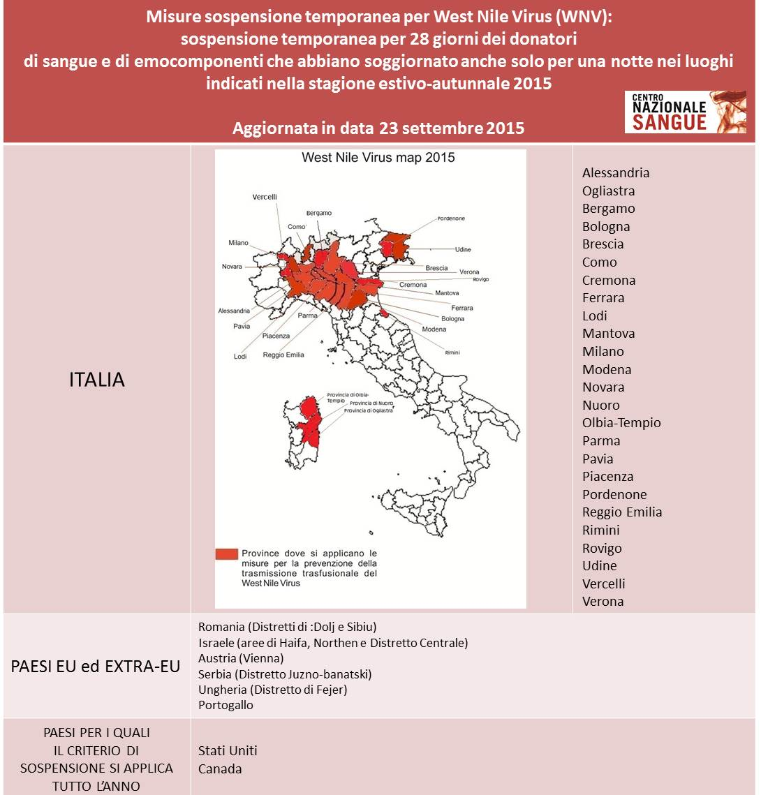 Mappa diffusione in Italia del West Nile Virus